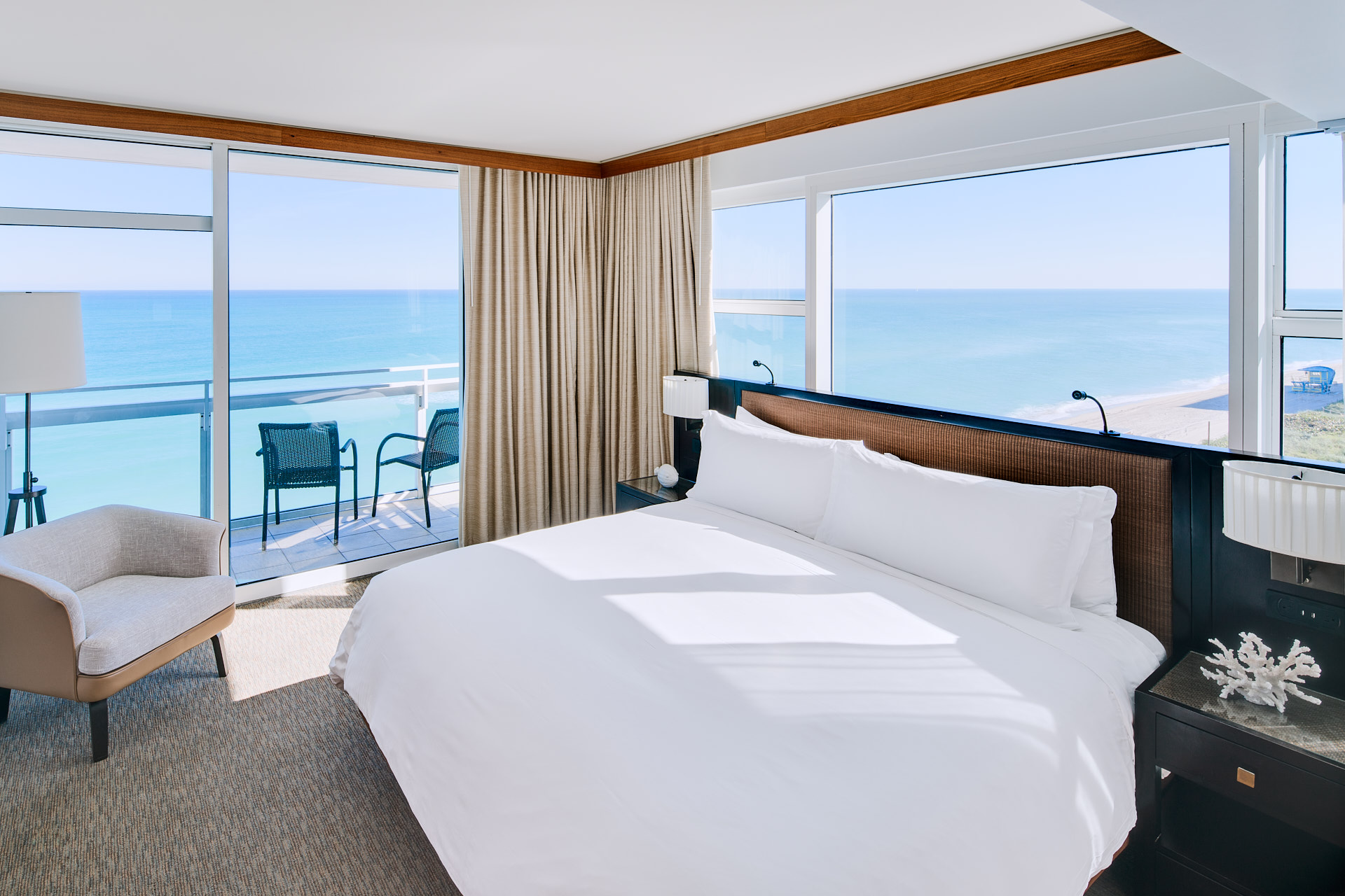Corner suite looking over the sea and beach at the Carillon Miami