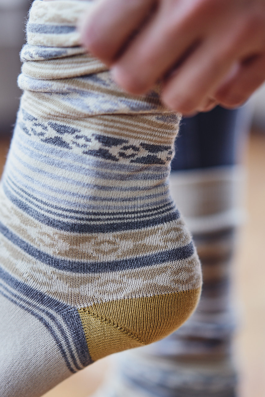 Sock worn by a model for Stick & Ball English Photo Shoot
